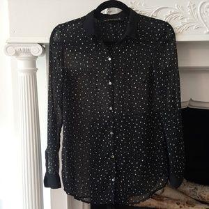 Zara Sheer Black Star-Pattern Long-Sleeve Blouse S